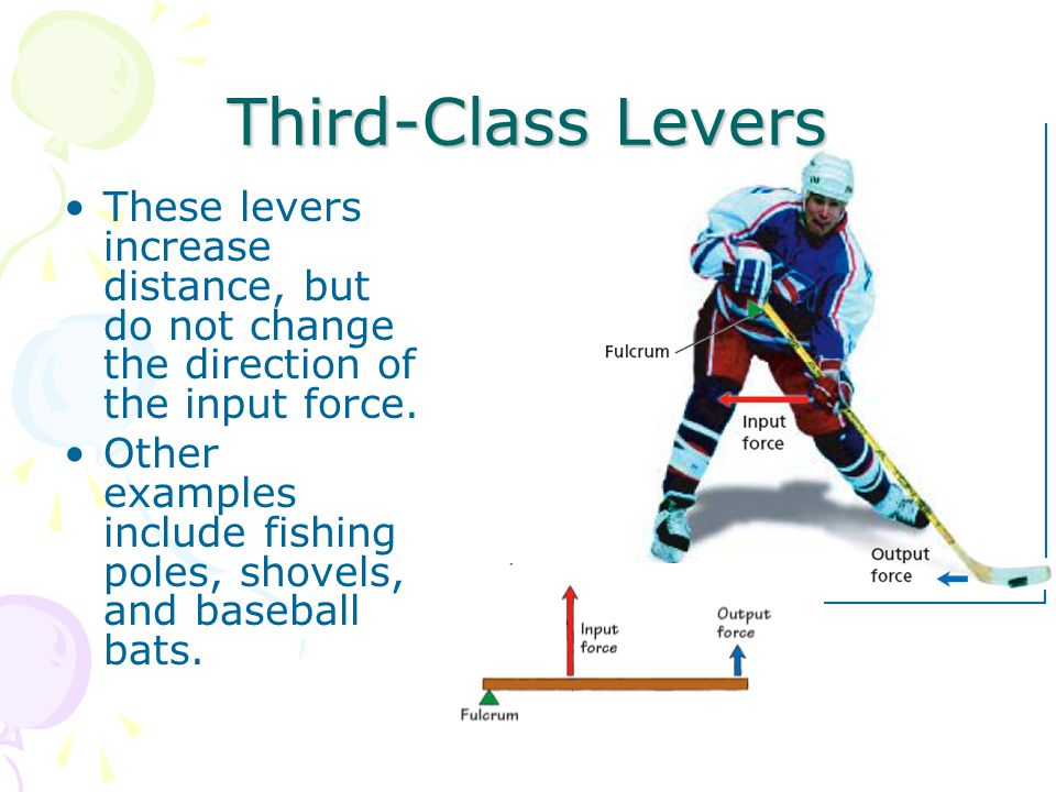 Third-Class Levers These levers increase distance, but do not change the direction of the input force.