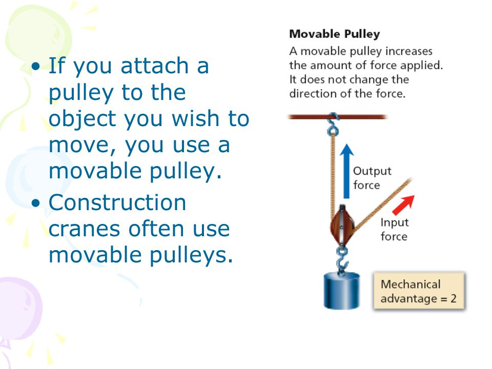 If you attach a pulley to the object you wish to move, you use a movable pulley.