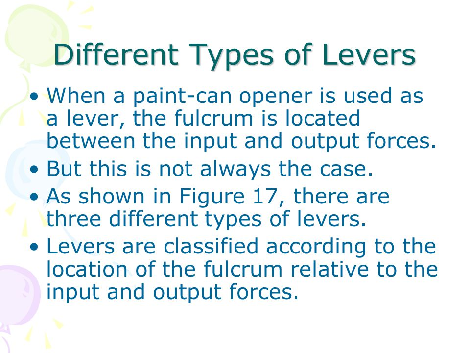 Different Types of Levers