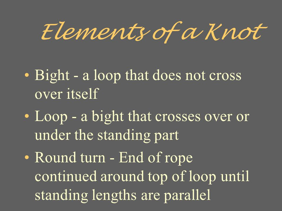 Elements of a Knot Bight - a loop that does not cross over itself