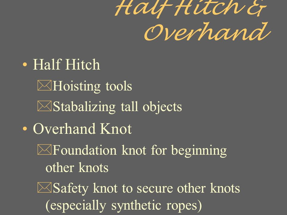 Half Hitch & Overhand Half Hitch Overhand Knot Hoisting tools