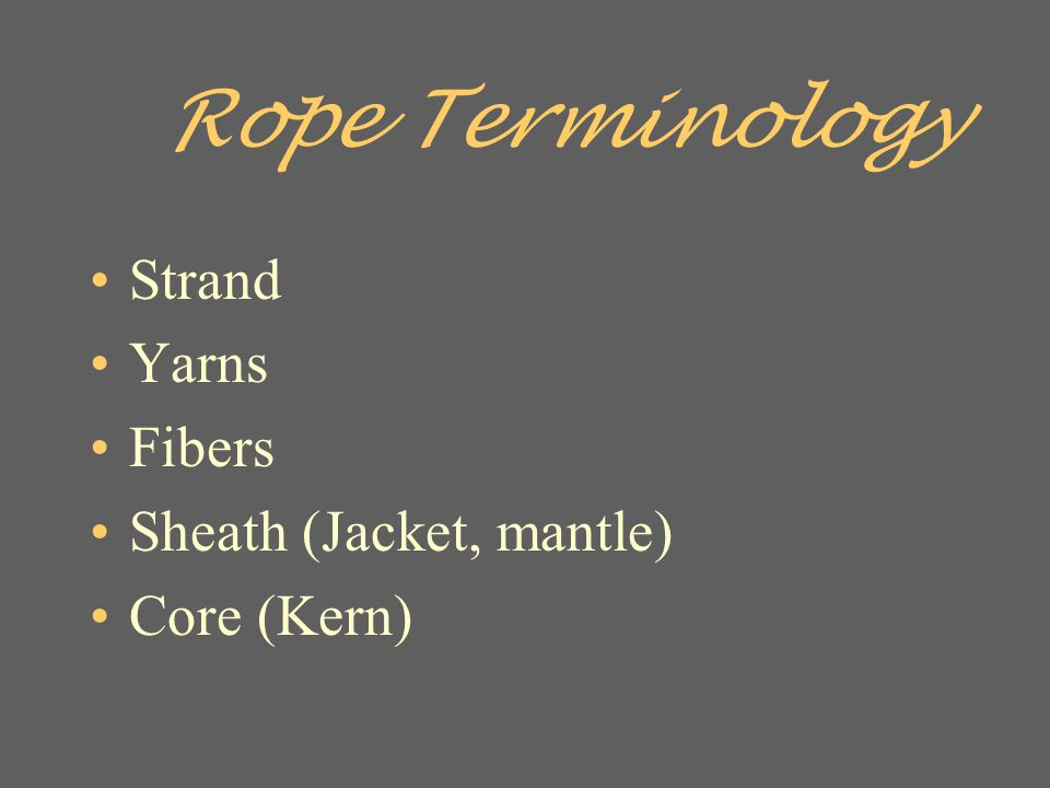 Rope Terminology Strand Yarns Fibers Sheath (Jacket, mantle)