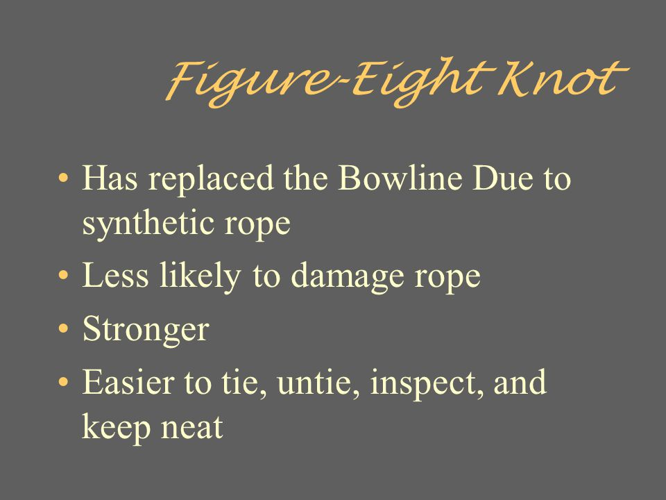Figure-Eight Knot Has replaced the Bowline Due to synthetic rope