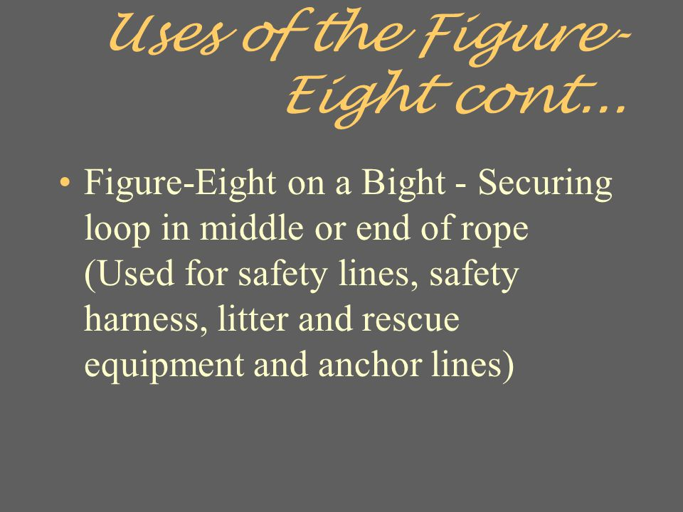 Uses of the Figure-Eight cont...