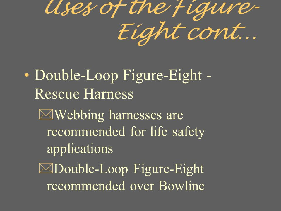 Uses of the Figure-Eight cont…
