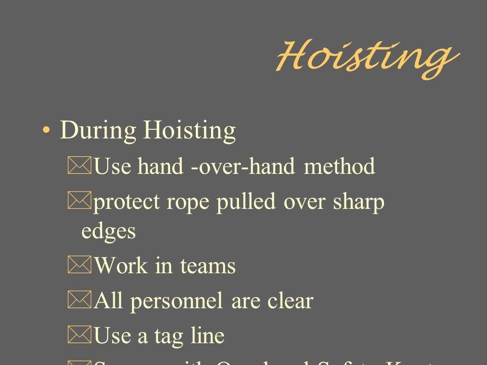 Hoisting During Hoisting Use hand -over-hand method