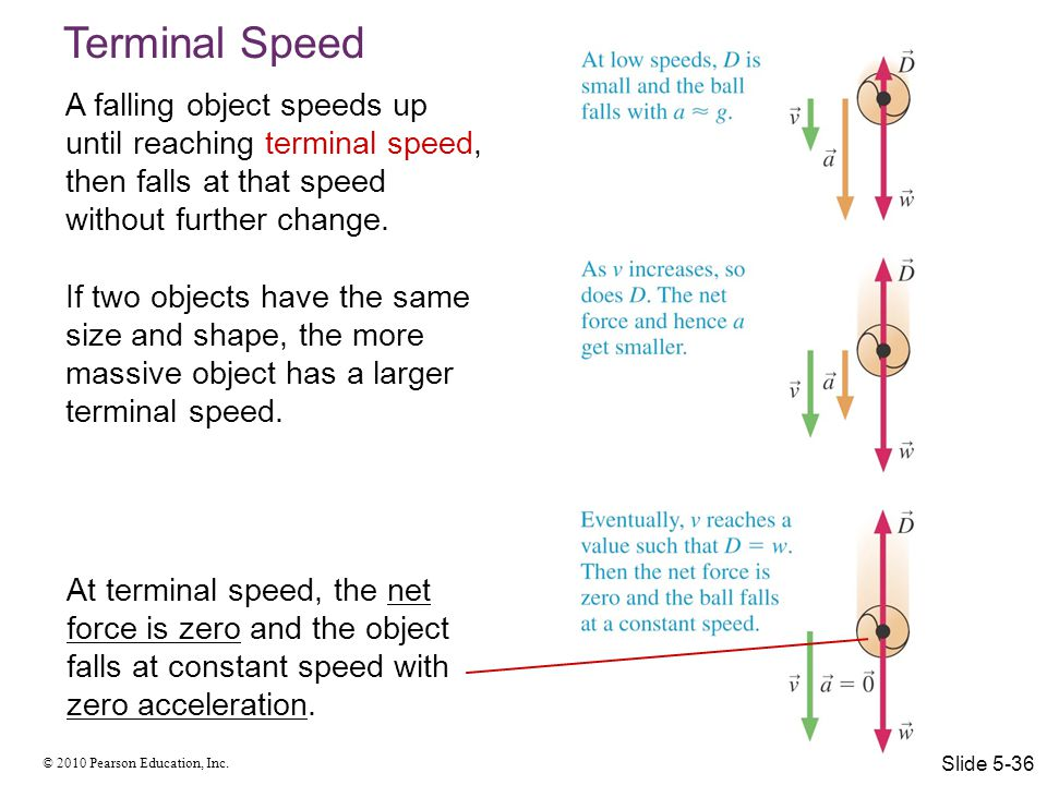 Terminal Speed A falling object speeds up until reaching terminal speed, then falls at that speed without further change.
