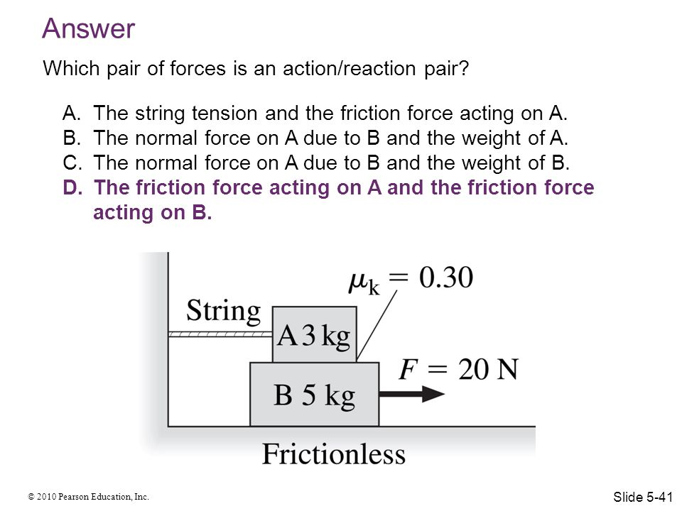 Answer Which pair of forces is an action/reaction pair