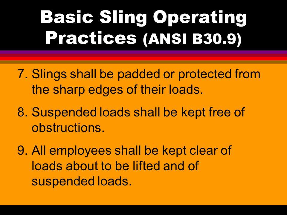 Basic Sling Operating Practices (ANSI B30.9)