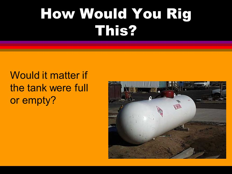 How Would You Rig This Would it matter if the tank were full or empty