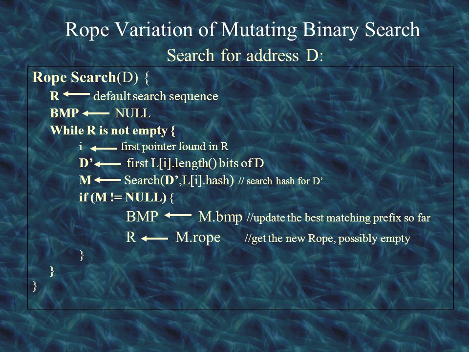 Rope Variation of Mutating Binary Search Search for address D: