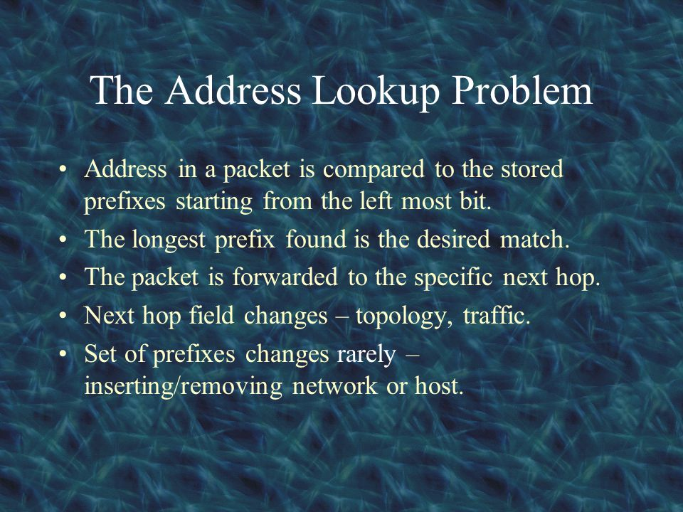 The Address Lookup Problem