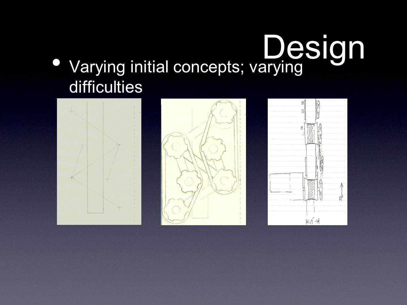 Design Varying initial concepts; varying difficulties