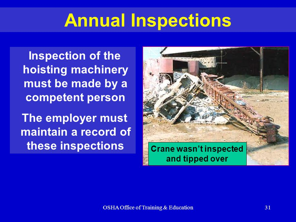 Annual Inspections Inspection of the hoisting machinery must be made by a competent person.