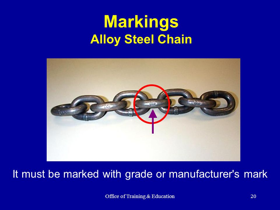 Markings Alloy Steel Chain