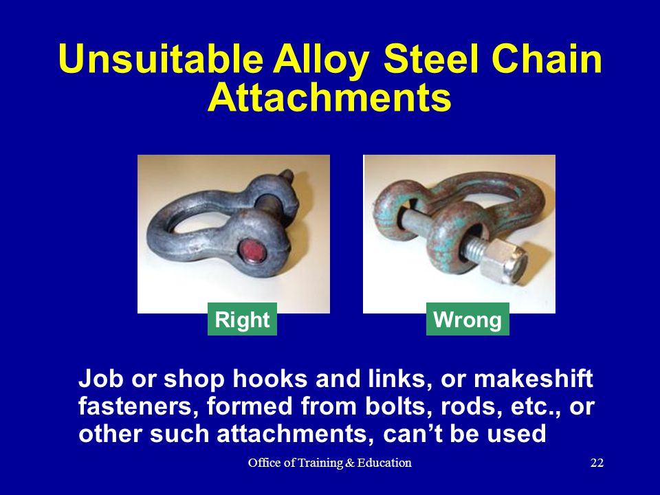 Unsuitable Alloy Steel Chain Attachments