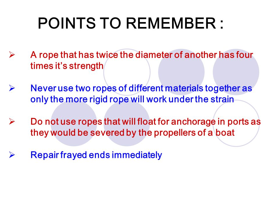 POINTS TO REMEMBER : A rope that has twice the diameter of another has four times it's strength.