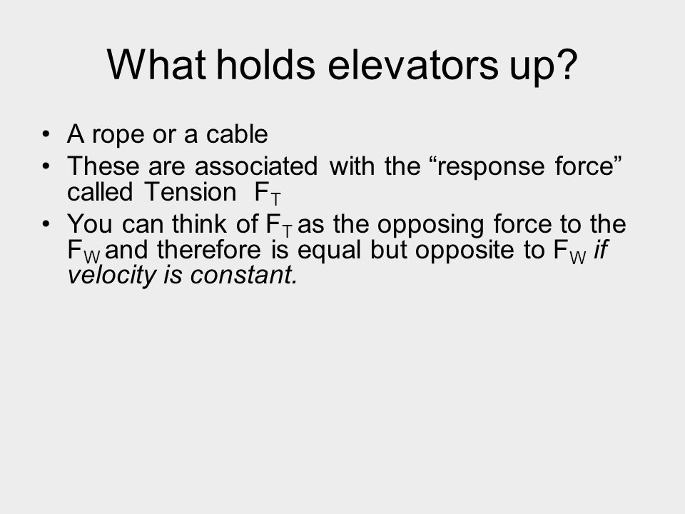 What holds elevators up