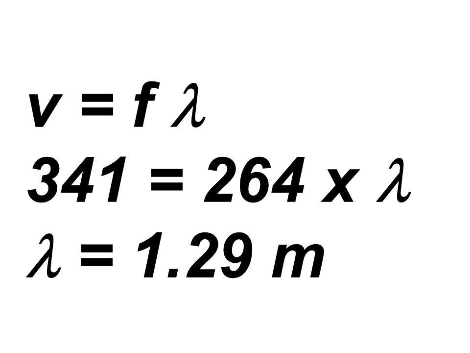 v = f l 341 = 264 x l l = 1.29 m