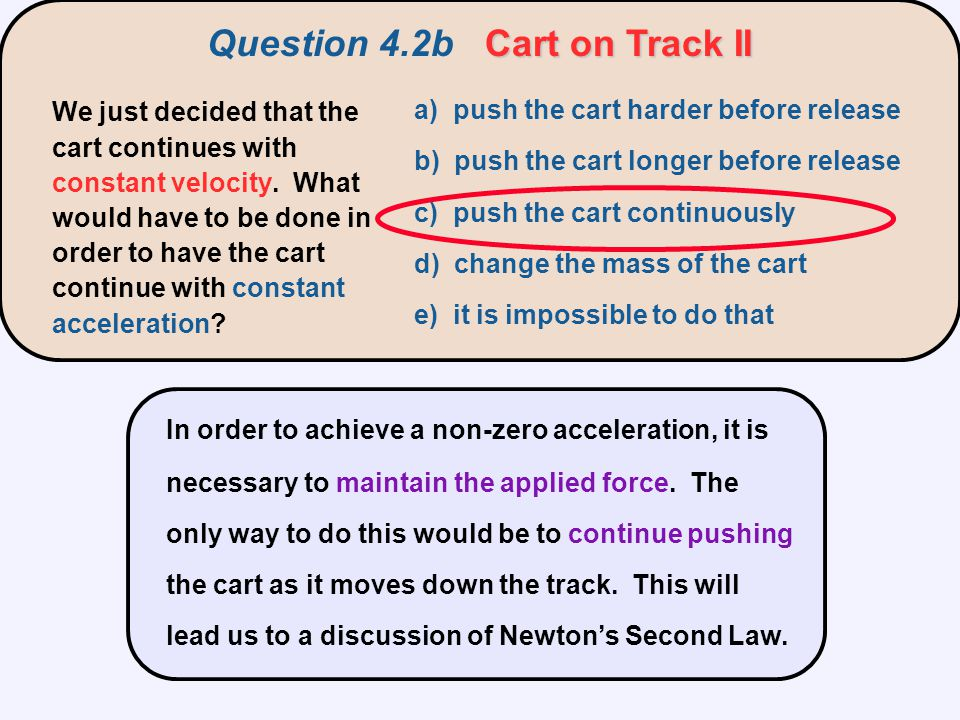 Question 4.2b Cart on Track II