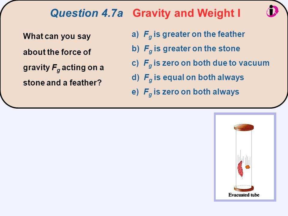 Question 4.7a Gravity and Weight I