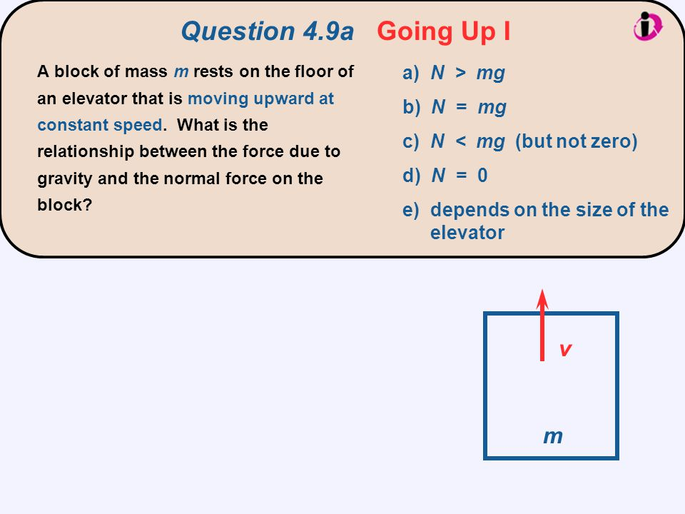 Question 4.9a Going Up I v m a) N > mg b) N = mg