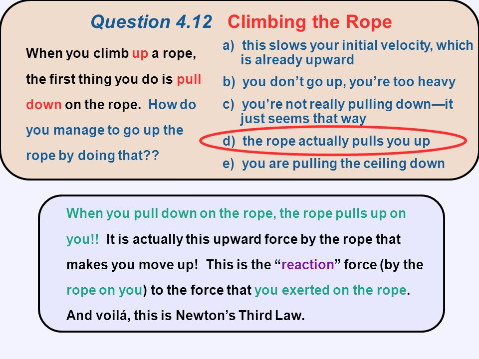 Question 4.12 Climbing the Rope