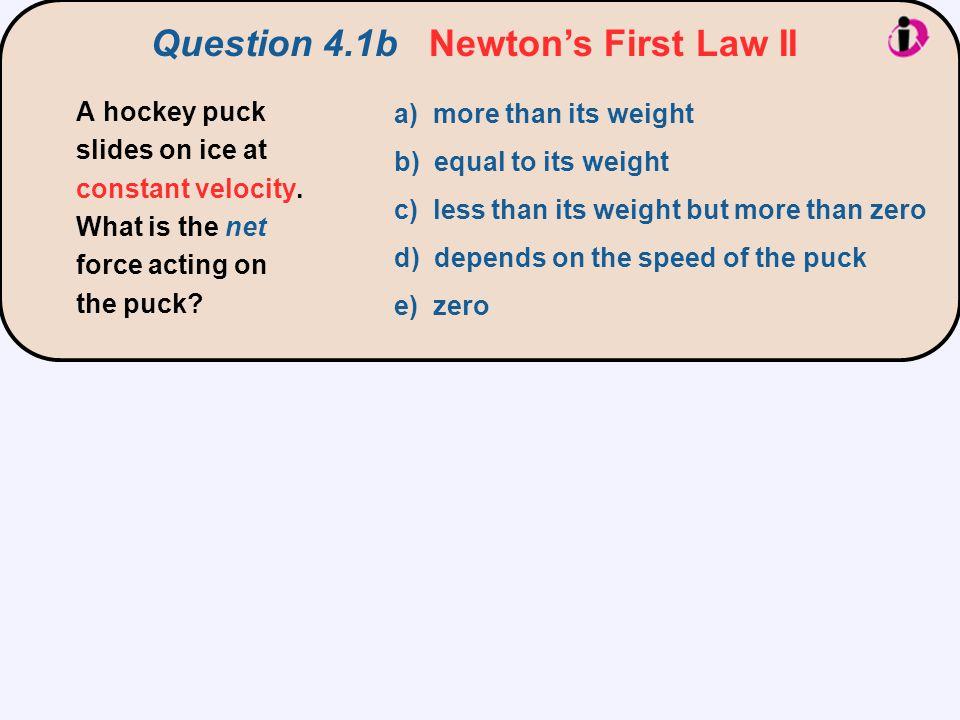 Question 4.1b Newton's First Law II