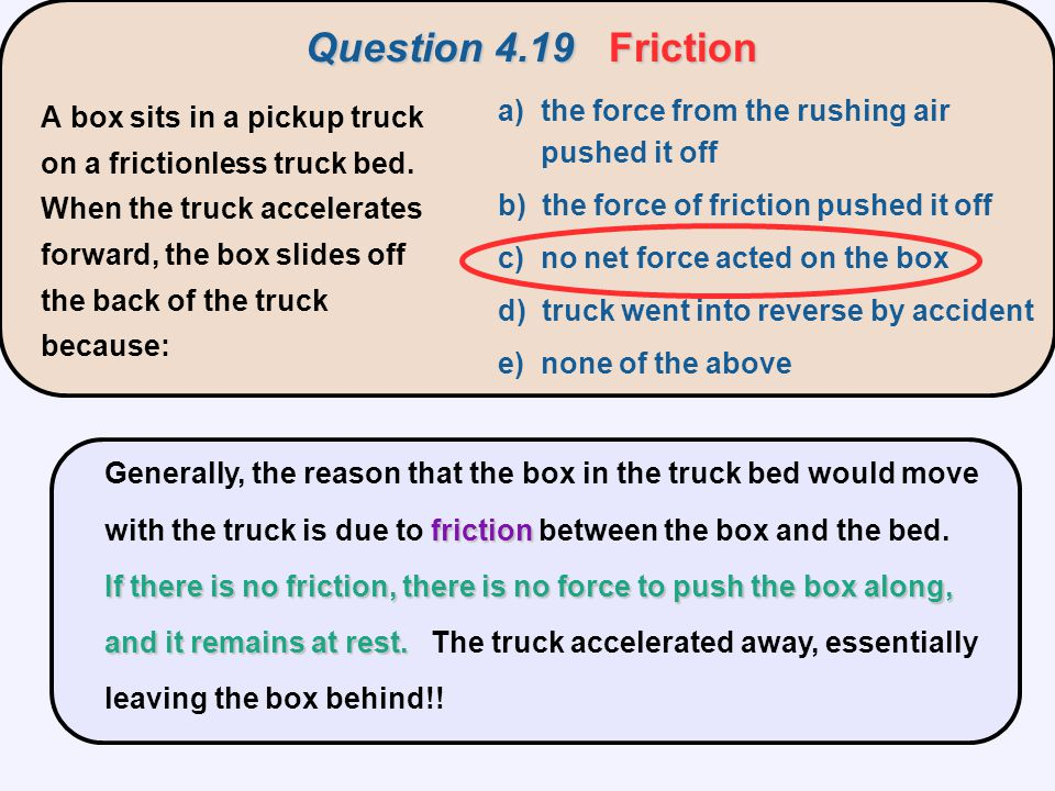 Question 4.19 Friction a) the force from the rushing air pushed it off