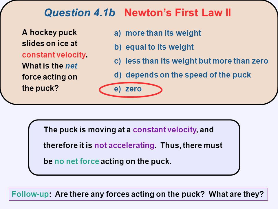 Question 4.1b Newton's First Law II