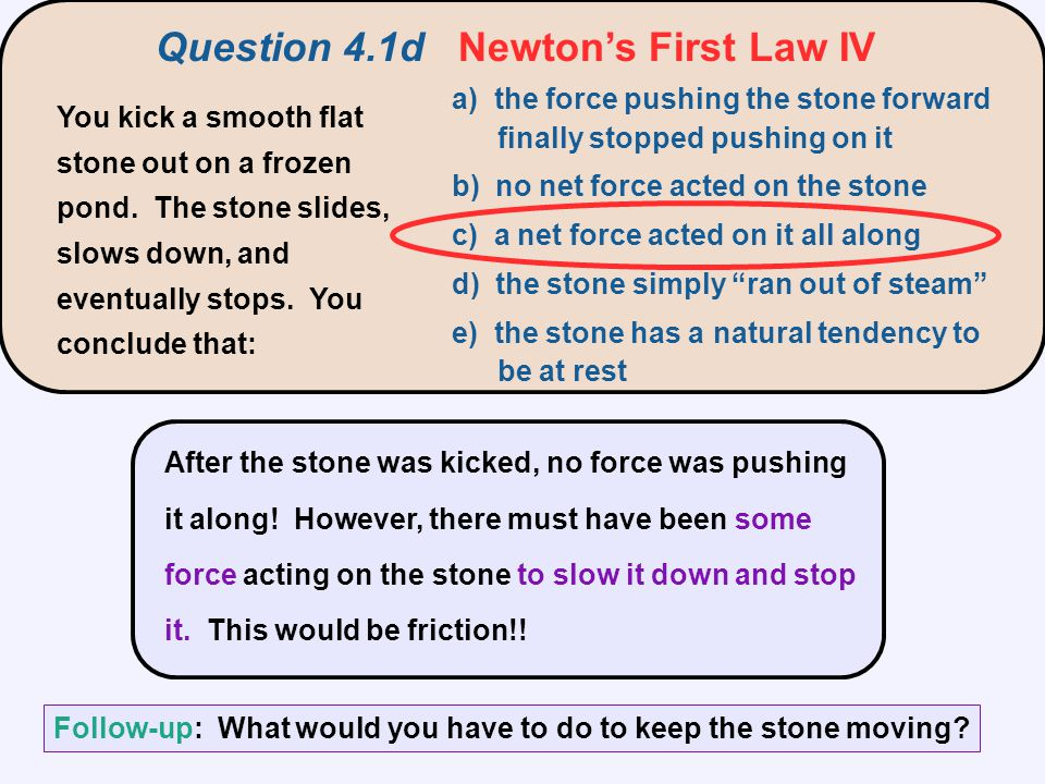 Question 4.1d Newton's First Law IV