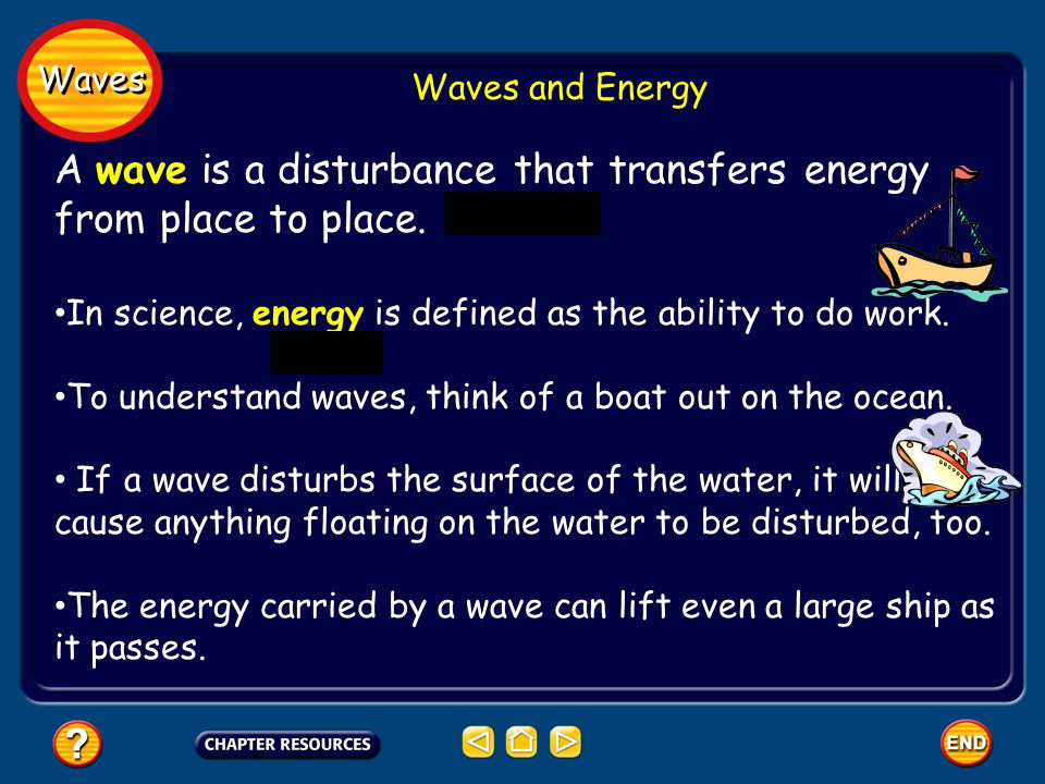 A wave is a disturbance that transfers energy from place to place.