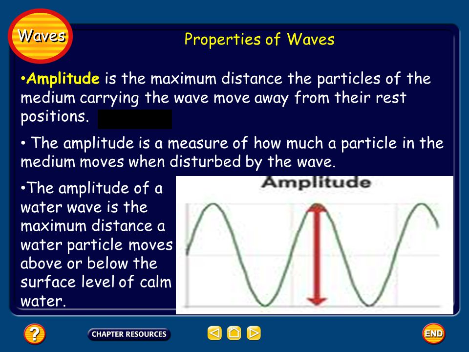 Waves Properties of Waves. Amplitude is the maximum distance the particles of the medium carrying the wave move away from their rest positions.