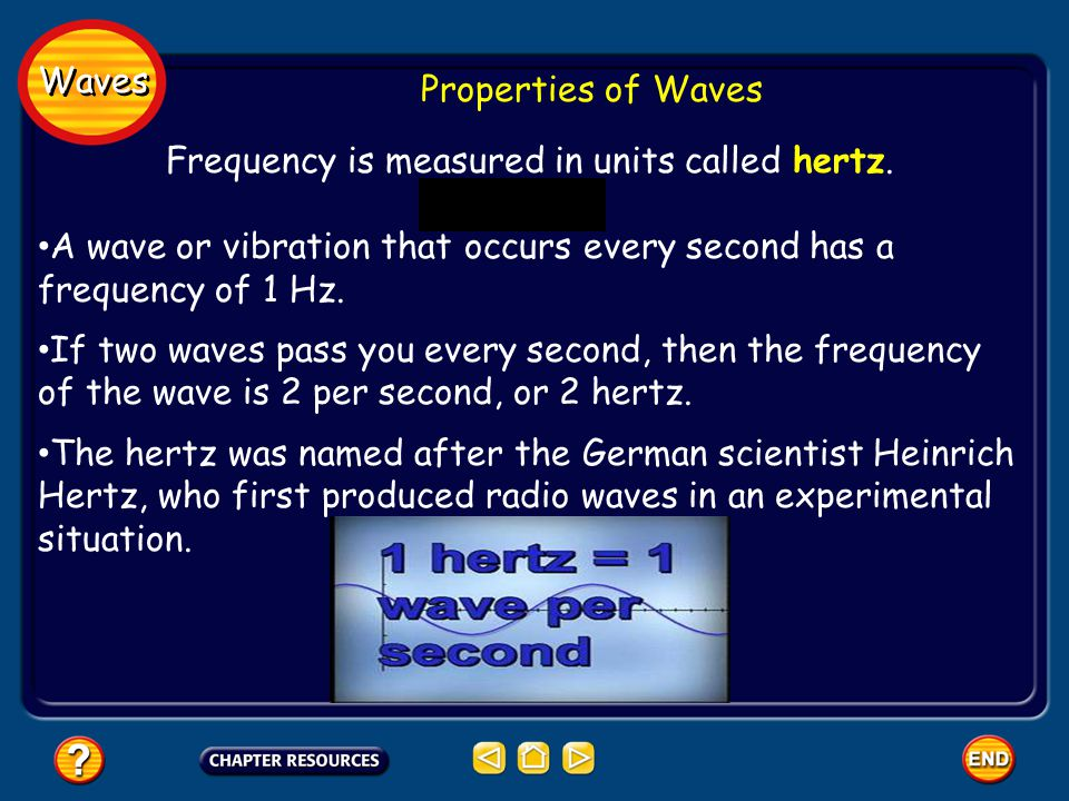 Frequency is measured in units called hertz.