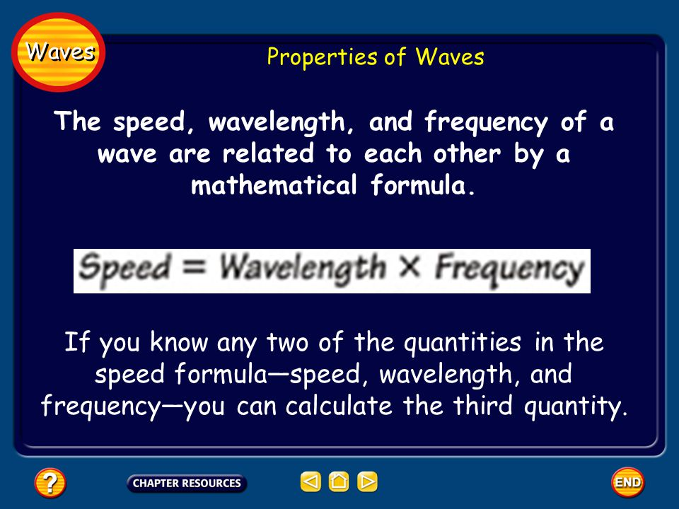 Waves Properties of Waves. The speed, wavelength, and frequency of a wave are related to each other by a mathematical formula.