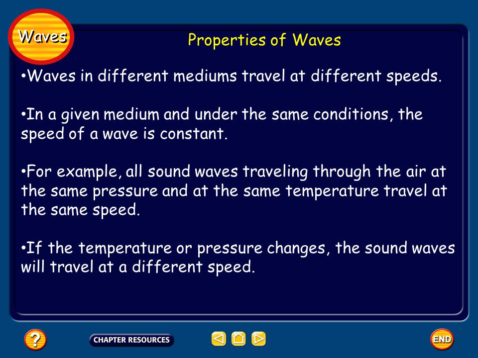 Waves Properties of Waves. Waves in different mediums travel at different speeds.