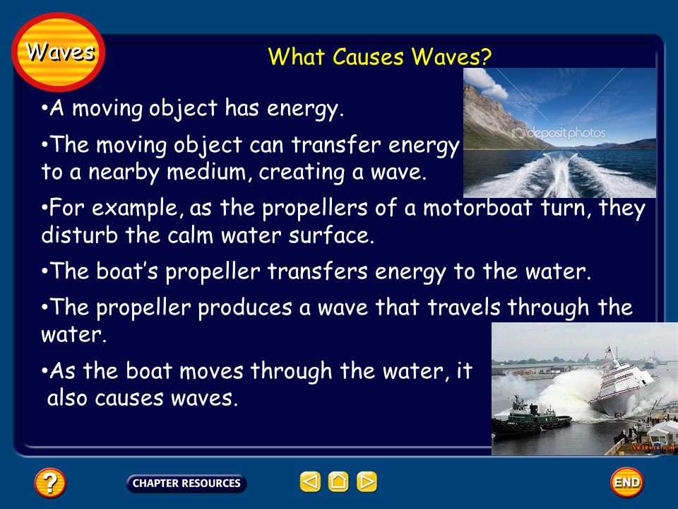 Waves What Causes Waves A moving object has energy. The moving object can transfer energy. to a nearby medium, creating a wave.
