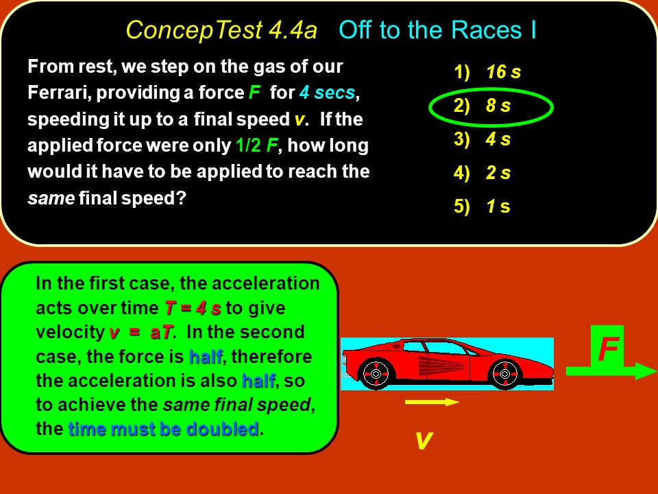 ConcepTest 4.4a Off to the Races I