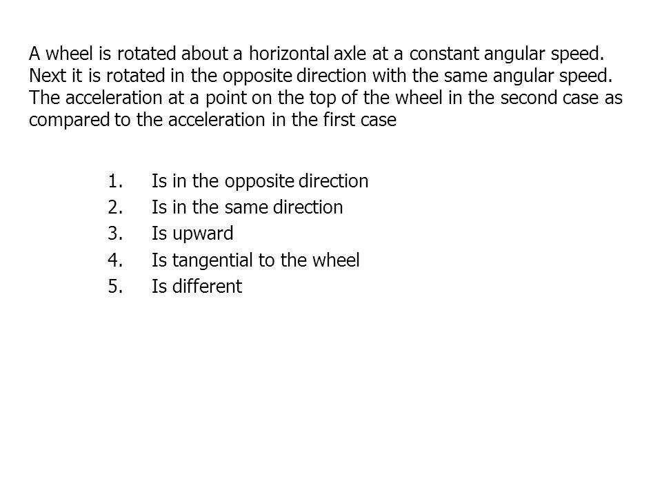 A wheel is rotated about a horizontal axle at a constant angular speed