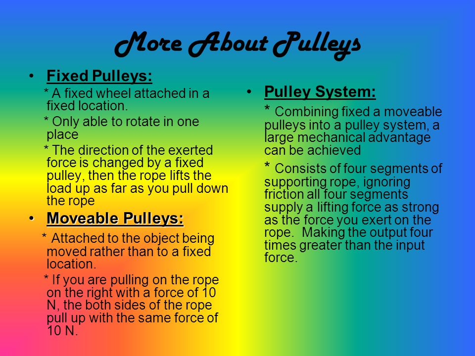 More About Pulleys Fixed Pulleys: Pulley System: