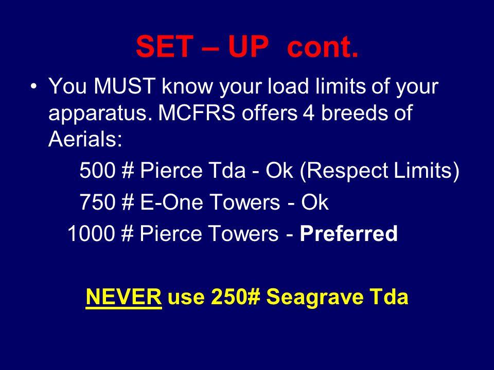 NEVER use 250# Seagrave Tda