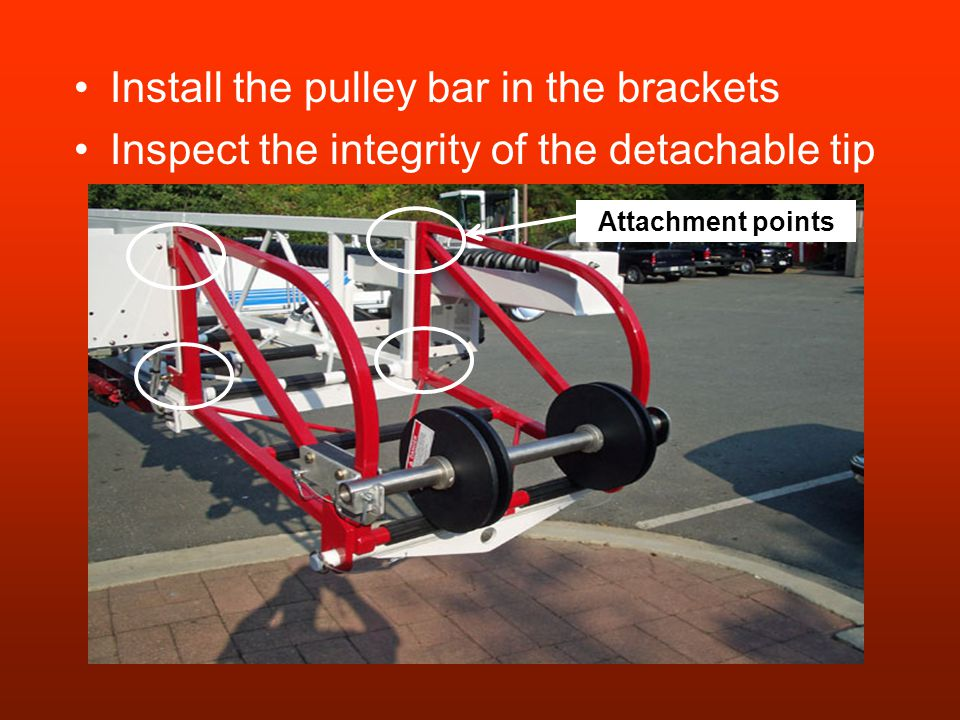 Install the pulley bar in the brackets