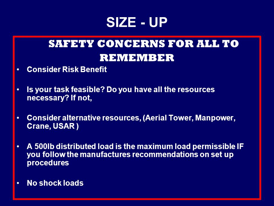 SAFETY CONCERNS FOR ALL TO