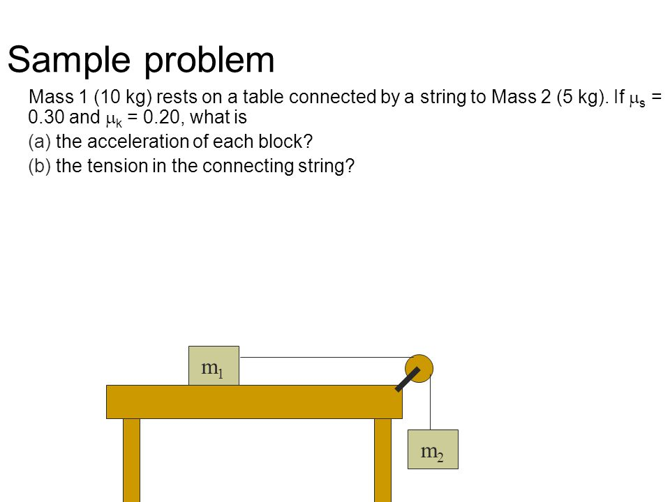 Sample problem Mass 1 (10 kg) rests on a table connected by a string to Mass 2 (5 kg). If ms = 0.30 and mk = 0.20, what is.