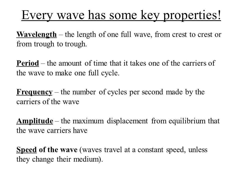Every wave has some key properties!