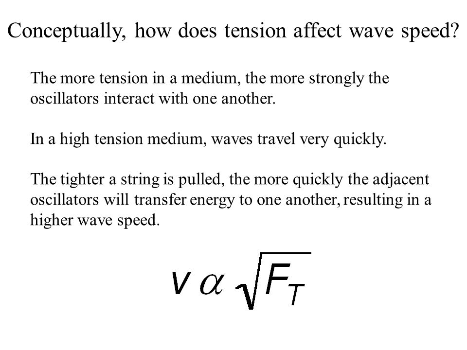 Conceptually, how does tension affect wave speed