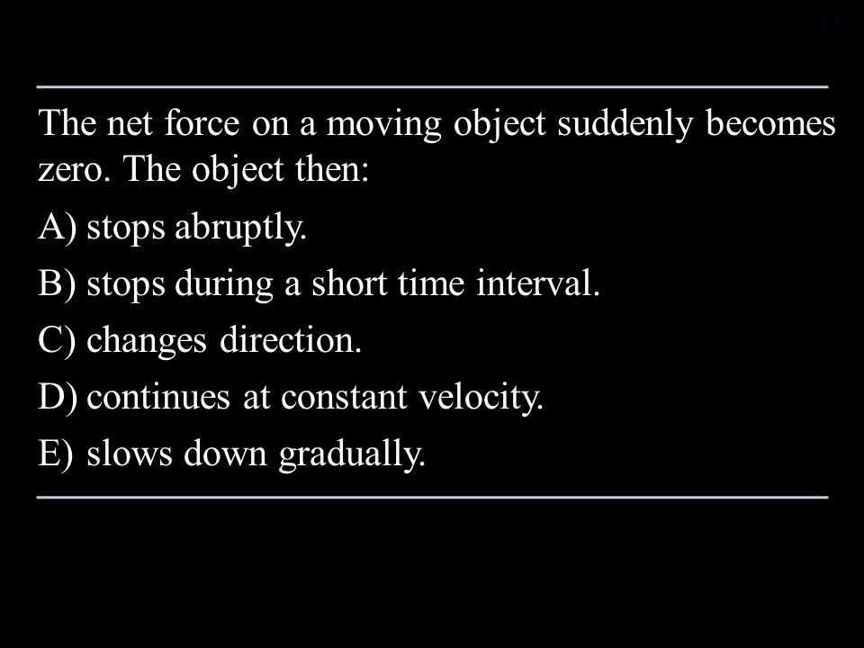 The net force on a moving object suddenly becomes zero