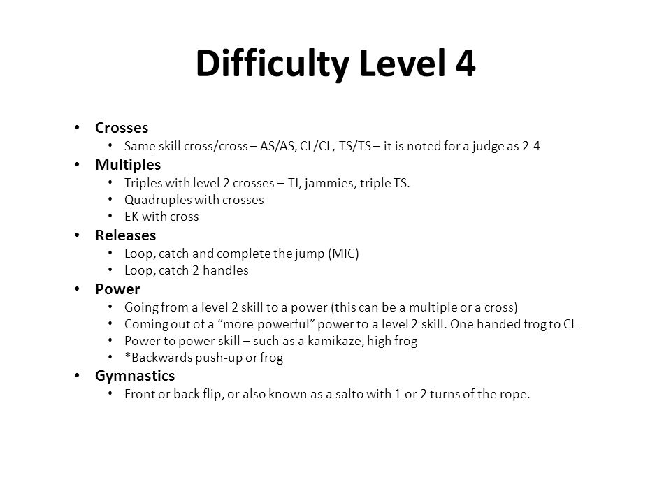 Difficulty Level 4 Crosses Multiples Releases Power Gymnastics