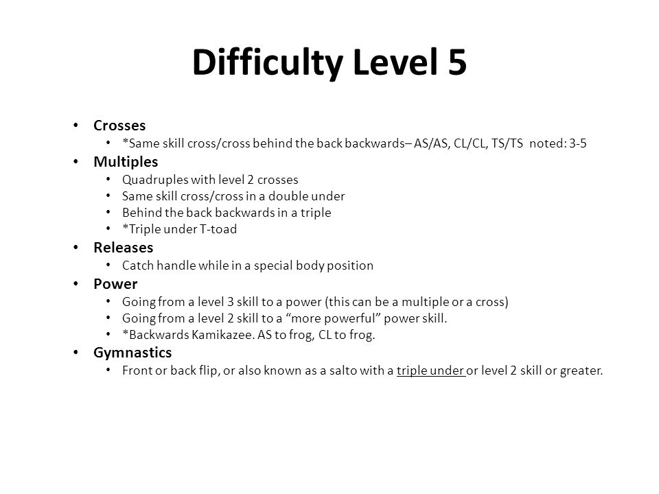Difficulty Level 5 Crosses Multiples Releases Power Gymnastics