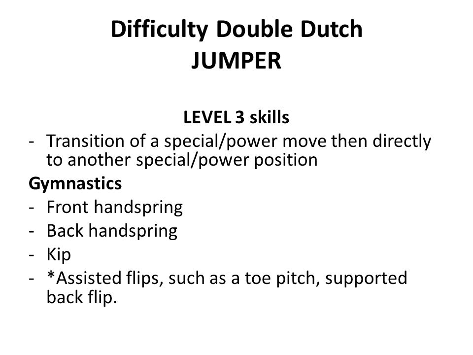 Difficulty Double Dutch JUMPER